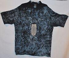 INDIGO 30 Men's Polo S/S Shirt Black Gray 100% Cotton Size: 3XL XXXL - EUC