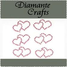 6 Light Pink Diamante Double Hearts Self Adhesive Rhinestone Body Vajazzle Gems