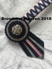 """Navy,Pink/Silver Show Browband. Any Size. Made to order.  3/4"""" leather base."""