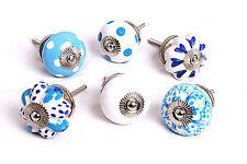 6 Blue & White Ceramic Cupboard Knobs Drawer Knobs Kitchen Knobs Cabinet (MG-64)