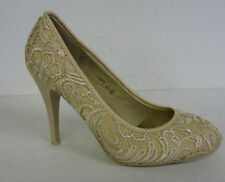 L2979- Ladies Lace Effect Courts Shoes Heels Occasion Gold Anne Michelle