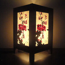 Asian Oriental Japanese Sakura Cherry Blossom Tree Bedside Table Lamp Wood Shade