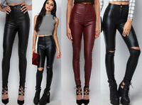 Womens Super Skinny PU Fit High Waist Leather Wet Look Ripped Jeans Trousers 4 6