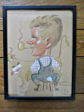"""Vintage Pastel CARTOON,""""Contented Farmer & Cow"""",POL? 1942,Signed,16""""x12"""",Framed"""