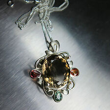 11cts Natural Imperial topaz & sapphires Sterling .925 silver necklace, pendant