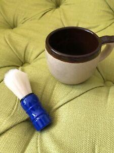 Vintage Brown Stoneware Shaving Mug/cup With Brush