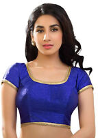 Royal Blue Polyester Silk Blouse Top Choli Dress Bollywood Wedding Saree INDIAN