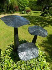 Mushroom Toadstool Garden Ornament - Set of 3 Flat Mushrooms 20/30/40cm - Silver