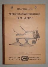 Ersatzteilliste Bayerische Pflugfabrik Dreipunkt-Winkeldrehpflug Roland von 1963