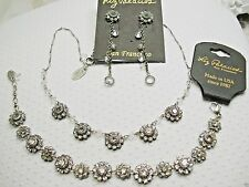 NEW Liz Palacios Clear Florette Silverplated Necklace, Bracelet and Earrings
