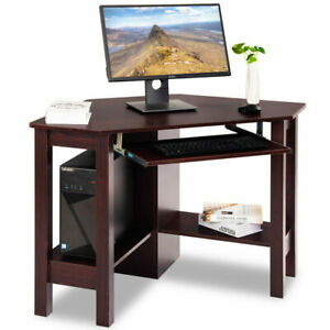 Costway Wooden Corner Desk With Drawer Computer Pc Table Study Office Room Brown