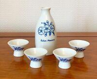 Vintage Japanese 5 Piece Fine Porcelain Sake Bottle 4 cups