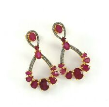 Natural Ruby Pave Diamond Earring Victorian Jewelry 925 Sterling Silver