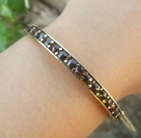 VINTAGE ESTATE GARNET 14K YELLOW GOLD BANGLE HANDMADE BRACELET 14.86gr 5mm