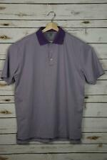 Peter Millar Summer Comfort Men's Large Purple White Striped Golf Polo