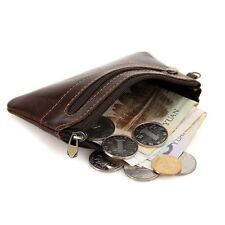 Men Real Leather Zipper Coin Wallet ID Card Cash Holder With Keyrings