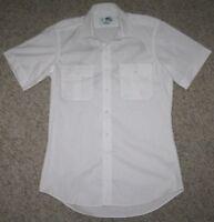 New Large Shirt 16 M&M White Cotton Blend Two Pocket Dress Mens Short Sleeve Top