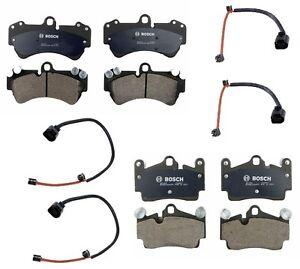 For Porsche w/ 350+330mm Brake Pad KIT Front+Rear CERAMIC BOSCH Pads+Sensors