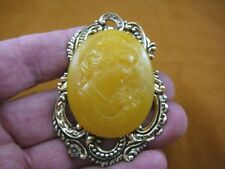 (CL47-13) MEDITATIVE WOMAN lady golden orange CAMEO Pin Pendant Jewelry brooch