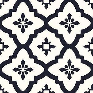 WallPops Bathroom/Kitchen Comet Peel & Stick Floor Tiles Black/White 10pk FP2480