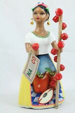 Lupita Najaco Ceramic Figurine/Doll Mexican Folk Art Candy Apple Seller Yellow 2