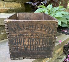 Antique Palmetto Brand Cove Oysters Wood Crate Box Savannah Georgia Vintage
