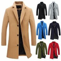 Men's British Jacket Outwear Casual Wool Trench Winter Overcoat Warm Long Coat