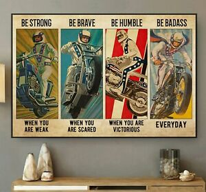 Motor Racing Poster Evel-Knievel Vintage Art Motorbike Lover Wall Decor Gift