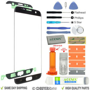 Samsung GALAXY S7 EDGE Replacement Outer Screen Glass Lens Repair Kit BLACK
