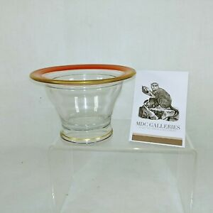 Glass Dish Bowl Nut Candy Dish Orange Gold Painted Collectible Vintage
