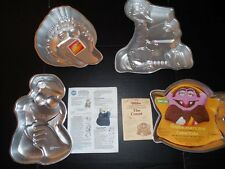 4 1970's WILTON CAKE PANS Jim Henson Muppets THE COUNT BIG BIRD COOKIE MONSTER