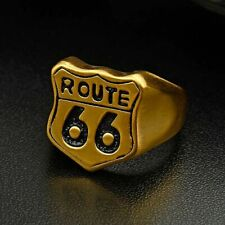 Biker Road Route 66 Ring Stainless Steel High Quality Usa Punk Matte Jewelry