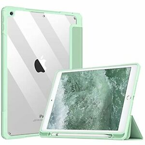 """iPad 9th Gen 10.2"""" 2021 Case with Pencil Holder Clear Back Shell Cover Auto Wake"""