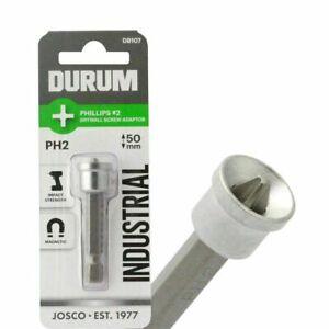 4 x Durum PHILLIPS INSERT PLASTER SCREWDRIVER BITS Magnetic-  PH2 50mm