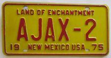 New Mexico 1975 VANITY License Plate AJAX-2