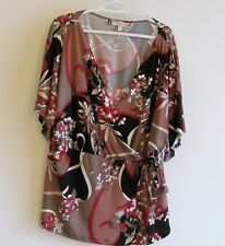 Jenifer Lopez Womens 2XL Floral Pullover Wrap Around Blouse