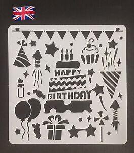 Happy Birthday Cake Party Small Thin Plastic Reusable Art Craft Stencil