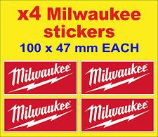 4x Milwaukee tools stickers red motorsport car van truck decals toolbox workshop