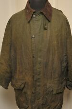 "VINTAGE BARBOUR BORDER A200 WAX COTTON JACKET 44"" / 112CM GREEN LARGE"