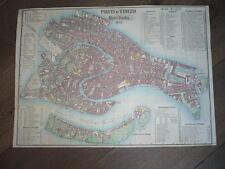 PLAN DE VENISE VENEZIA 1855 LITHOGRAPHIE AQUARELLE ITALIE