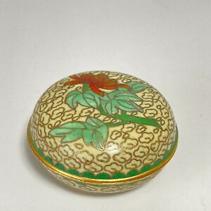 Japanese Incence container, Kogo, Shippo cloisonne ware, flower motif container
