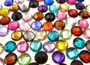 Free Shipping - 50pcs 10mm Acrylic Faceted Round Gem Cabochons Flat back F1286B