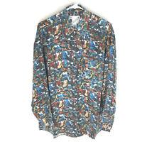 GOOUCH Mens M Long Sleeve Shirt Silk Button Up 90s Abstract Art VTG Rare NEW