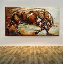 100%Hand-painted Abstract Bull Oil Painting On Canvas 24X48inch (NO framed)