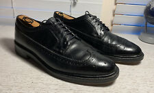 652-)Hanover 5 Nail Wing Tip Black Leather Men's Sz 10
