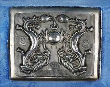 Antique Chinese Sterling Silver Dueling Dragons Cigarette Case
