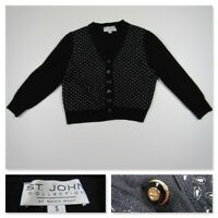 St John Collection Marie Gray Womens Small Button Front Black Sweater Jacket