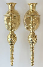 Set of 2 Vintage Solid Brass Wall Sconce Candle Holder
