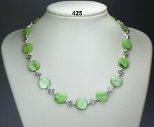"""Lime green dyed shell flat/round12mm bead necklace,Tibetan silver spacers 18""""+2"""