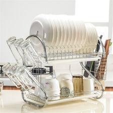 2 Tier Dish Drainer Drying Rack Kitchen Storage 2 Tier Tray Dish Organizer
